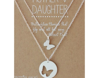 Mother Daughter Necklace Set, Butterfly Jewelry, Graduation gift, Mom Gift, Jewelry gift set, Daughter Gift, Graduation gift, from daughter