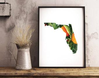 Florida + Orange Grove - State Outline Pattern - Wall Art
