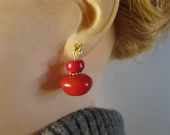 juicy tomato red glass earrings doll jewelry French Italian German vintage fashion dolls 18 inches and up