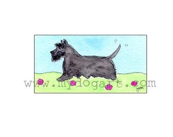Whimsical Scottish Terrier print 5x7