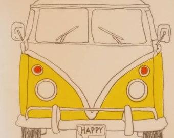 """Volkswagen bus """"Happy"""" 4 pack cards"""