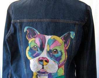 Hand painted pit bull jean jacket