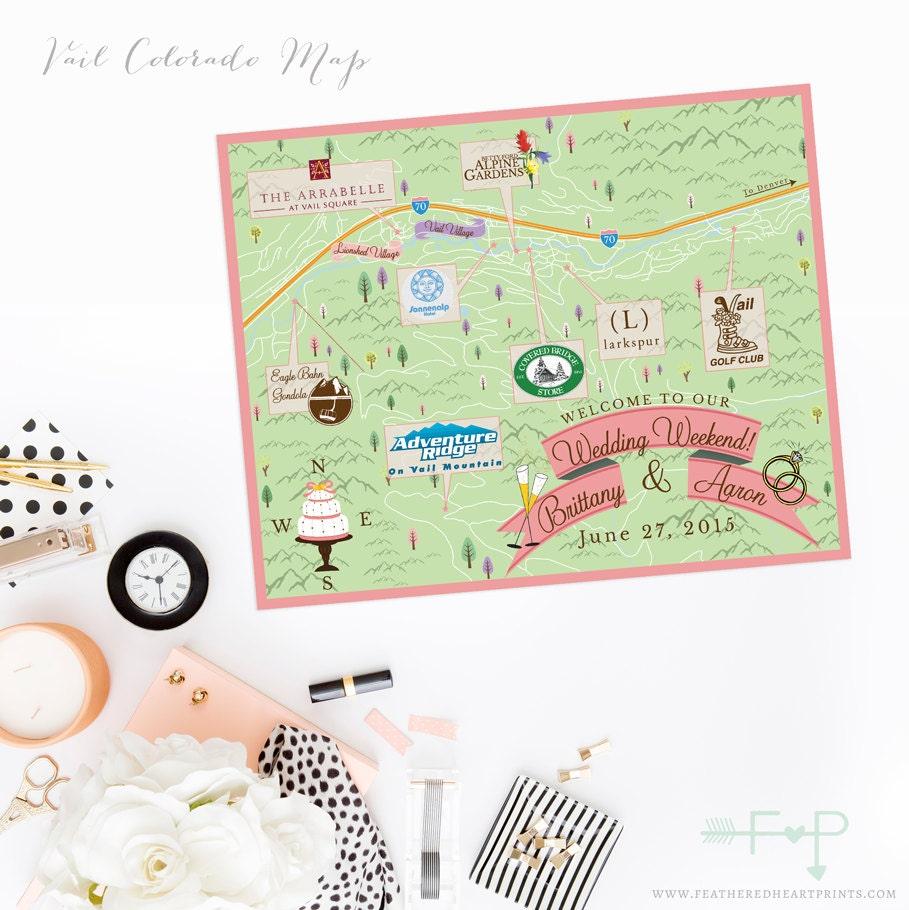 Custom Wedding Map Custom Vail Colorado Map Vail CO wedding