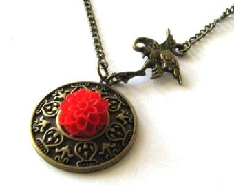Red flower necklace jewelry antique bronze brass crane necklace red chrysanthemum mum resin flower necklace nostalgic look