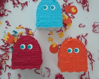 3 Pac-Man Mini Pinatas, Pacman birthday, Pacman Party, Pacman goodie bags, Pacman party favors, Pacman Ghost Pinata