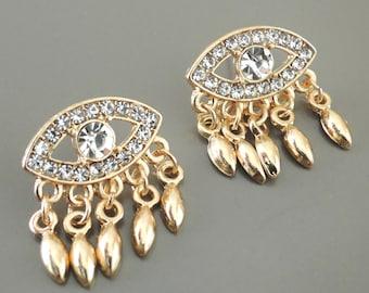 Evil Eye Earrings - Tassel Earrings - Gold Earrings - Boho Earrings - Crystal Earrings - Stud Earrings