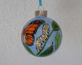 hand painted Monarch Butterfly Ornament, butterfly gift, Christmas tree decoration, personalized gift #598