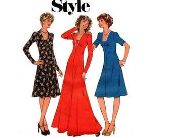 Style 1350 Womens Fit & Flare Empire Waist Dress or Maxi 70s Vintage Sewing Pattern Size 14 Bust 36 inches