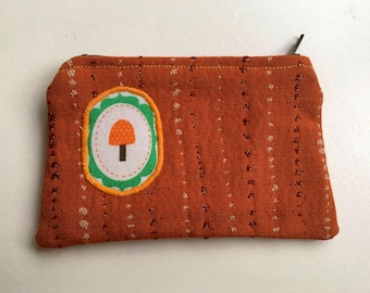 Change Purse coin pouch orange mushroom canvas lined
