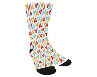 Star Trek TOS Socks - Federation of Planets Socks Cosplay Socks Comiccon Socks Trouser Socks Star Trek Insignia Socks