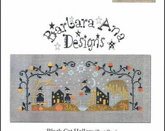 NEW! BARBARA ANA Black Cat Hollow Part 1 counted cross stitch patterns at thecottageneedle.com Halloween October witches