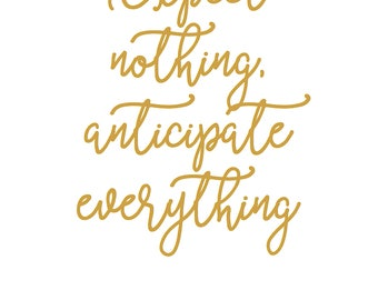 Wall Art Buddha Quote Yoga Meditation Expect Nothing A4 Print Typography