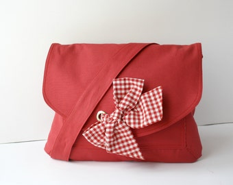 Red Cotton Fabric Messenger Bag Red and White Gingham Bow Adjustable strap school bags