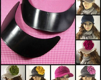 HAT BRIM Plastic baseball Brim Cap for Newsboy Hat - Set of Two - Adult Size