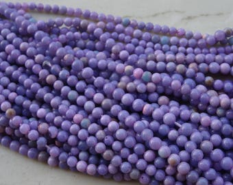 3-4 mm Purple Color Peruvian Opal Smooth Round Full 13 inch Strand-Best Price-AAA+