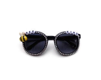 """Children's """"Bee Kind"""" decorated sunglasses by Baba Cool 