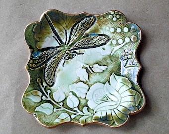 Ceramic Moss Green and White Damask trinket dish soap dish Jewelry Holder Dish