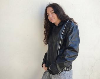 Black Leather Vintage Motorcycle Jacket Women's Size Small, Zip Up Jacket, Bomber Jacket for Women, Motorcycle Gifts, True Vintage Gifts