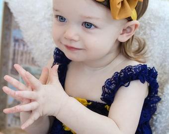 Mustard Bow  mustard Yellow chiffon hair bow  baby headband Fabric Knot bow
