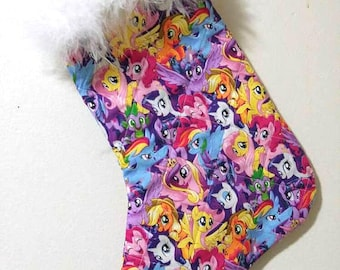My Little Pony Frienship is Magic Characters Christmas Holiday Quilted Stocking