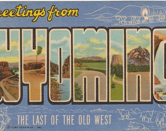 Linen Postcard, Greetings from Wyoming, Cowboy, Covered Wagon, Large Letter