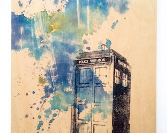 Doctor Who Decor TARDIS Art on Wood Doctor Who Art Print On Wood Panel Doctor Who Gift Decoration TARDIS Doctor Who Decor Wall Art Print