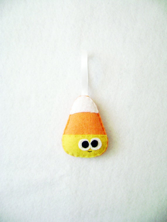 Candy Corn Ornament, Halloween Ornament - Casey the Candy Corn, Felt Ornament, Christmas Ornament, Candy