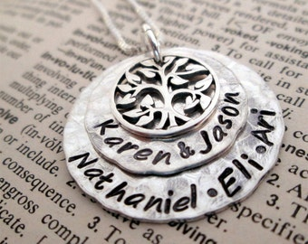 Family Necklace - Silver  Family Tree Necklace - hand stamped necklace -mothers jewelry - grandmothers necklace