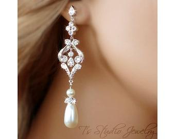 Teardrop Pearl Bridal Chandelier Earrings - CZ Cubic Zirconia Silver Earings with Ivory or White Pearls - VERONICA