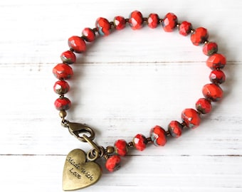 Coral Bracelet, Colorful Bohemian Style bracelet, Summer Colors, Heart charm, Stacking Bracelet