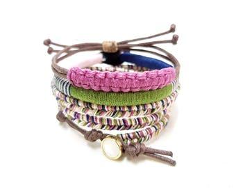 Boho Bracelet Stack, Fall Bracelets, Fall Jewelry, Hippie Bracelet Set, Thread Bracelets, Stackable Bracelets Boho, Bohemian Bracelets