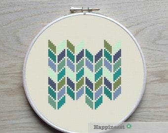 modern cross stitch pattern, geometric chevron, PDF ** instant download**