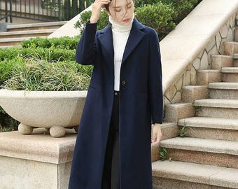wool coat coat long coat wool clothes  Suit collar