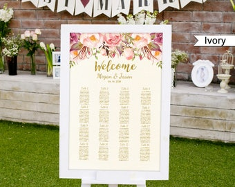 Wedding Seating Chart Template, Ivory Boho Floral Wedding Table Plan, #A009, INSTANT DOWNLOAD with EDITABLE text - you personalize at home