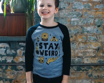 Stay Weird Heather Grey/Black Raglan Kids T-Shirt. 3/4 length baseball child tee. Spooky, magic shirt for Boys and Girls