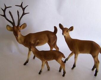 Vintage Family of Flocked Deer