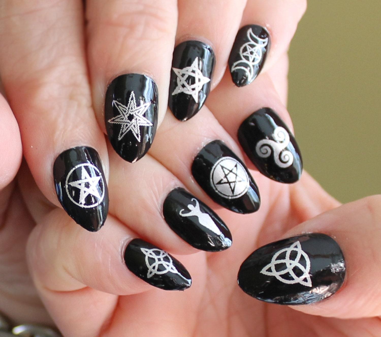 WICCAN Nail Art Symbols MEGAPACK MXS 57 Silver Mixed Decals