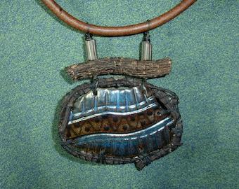 NECKLACE - Handmade, One of a Kind, Ceramic Pendant, Reversible, Virginia Creeper Wrapped, Latigo Leather Cord, Great Conversation Piece