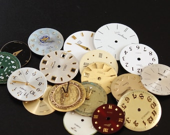 19 Round Metal Watch Dials, Large Lot of Watch Faces, Steampunk and Altered Art Supply