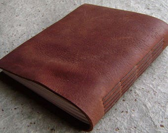 "Leather journal, approx. 5""x 5.5"", rustic brown handmade journal, sketchbook (2887)"