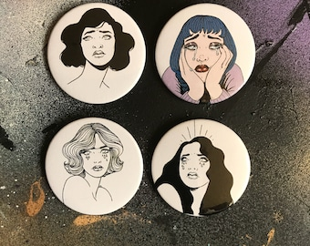 Sad Girl 45mm Badges x4 / Art Badge