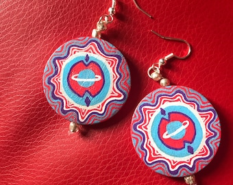 Outer Space ~ hand painted dangly earrings