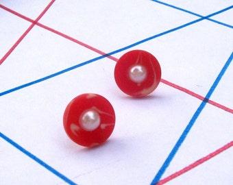 SWIRLS N PEARLS Post Earrings - Button Earrings -Modern Everyday Jewelry