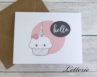 Folded Notecard Set - Unicorn Cupcake / Greeting Card / Cute / Kawaii / Gift / A2 Size / Hello / Note Card / Stationery