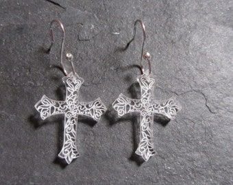 Cross Celtic Design perspex earrings