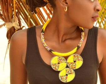 Yellow Maasai necklace with 3 disc