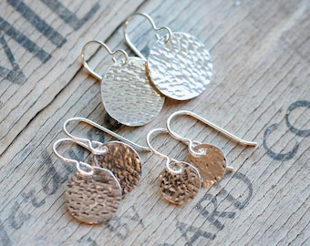 sterling silver earrings, round discs, gift for wife girlfriend sister, hammered silver jewelry, everyday modern,