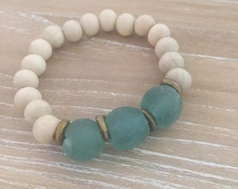 Recycled glass and wood bracelet