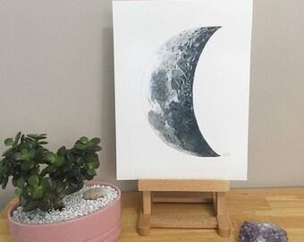 Crescent Moon Watercolour Print