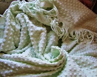 Cool Mint Pistachio Morgan Jones Perky Pops on a Full Sized Vintage Chenille Bedspread - Original Tag, Full Sz